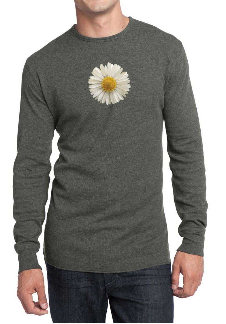 Mens shirt white daisy long sleeve thermal tee t shirt Mens long sleeve white t shirt