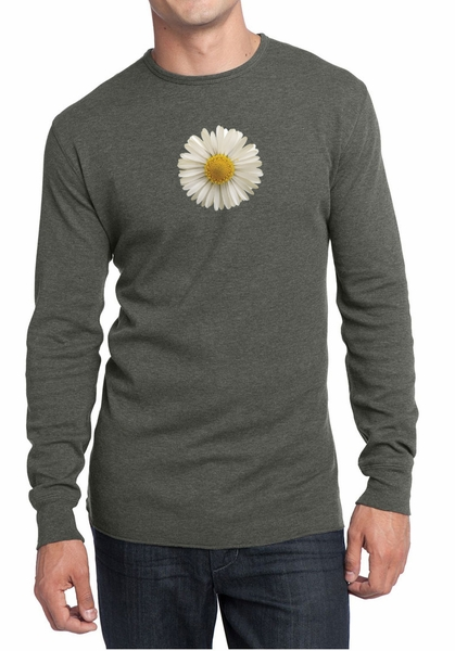Mens Shirt White Daisy Long Sleeve Thermal Tee T Shirt