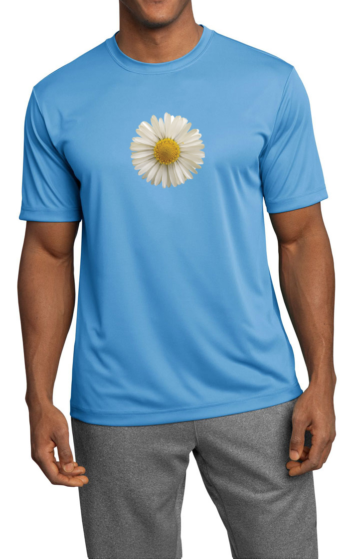 Mens shirt white daisy moisture wicking tee t shirt for Sweat wicking t shirts