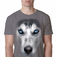 Mens Siberian Husky Shirt Big Siberian Husky Face Burnout T-Shirt