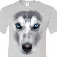 Mens Siberian Husky Shirt Big Siberian Husky Face Tall Tee T-Shirt
