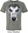 Mens Siberian Husky Shirt Big Siberian Husky Face Tri Blend T-Shirt