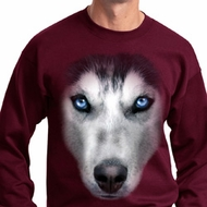 Mens Siberian Husky Sweatshirt Big Siberian Husky Face Sweat Shirt