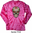 Mens Skull Shirt Sugar Skull with Roses Long Sleeve Tie Dye T-shirt