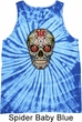 Mens Skull Tanktop Sugar Skull with Roses Tie Dye Tank Top