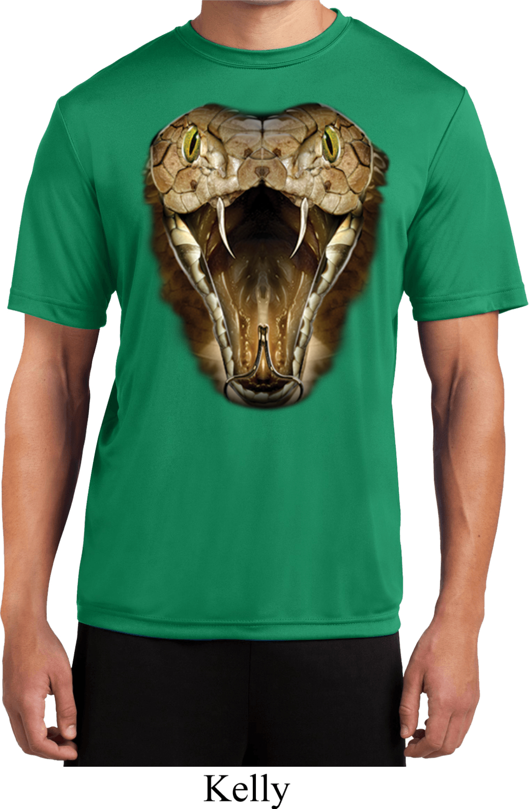 Mens snake shirt big cobra snake face moisture wicking tee for Sweat wicking t shirts
