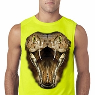 Mens Snake Shirt Big Cobra Snake Face Sleeveless Tee T-Shirt