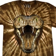 Mens Snake Shirt Big Cobra Snake Face Spider Tie Dye Tee T-shirt