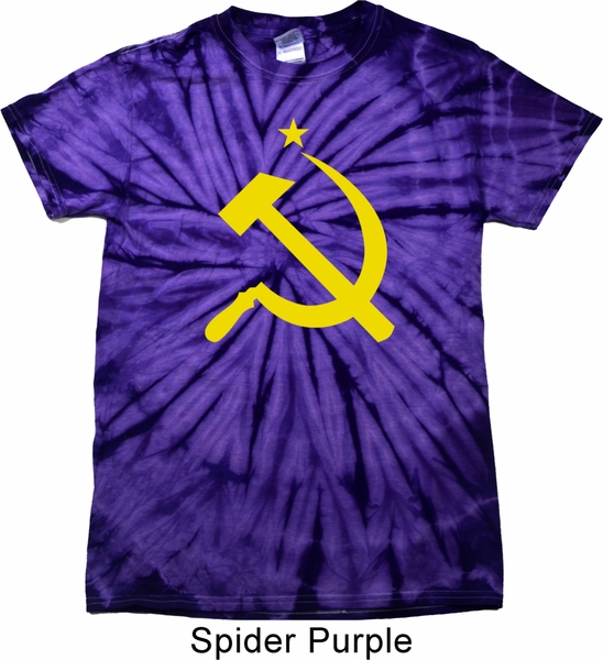 Mens soviet shirt yellow hammer and sickle spider tie dye for Tie dye mens t shirts