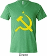 Mens Soviet Shirt Yellow Hammer And Sickle Tri Blend V-neck Tee