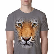 Mens Tiger Shirt Big Tiger Face Burnout T-Shirt