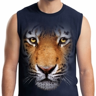 Mens Tiger Shirt Big Tiger Face Muscle Tee T-Shirt