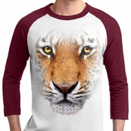 Mens Tiger Shirt Big Tiger Face Raglan Tee T-Shirt