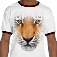 Mens Tiger Shirt Big Tiger Face Ringer Tee T-Shirt
