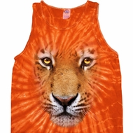 Mens Tiger Tanktop Big Tiger Face Tie Dye Tank Top