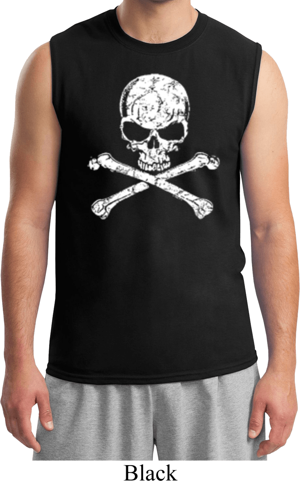 Mens white distressed skull muscle shirt white for How to make a distressed shirt