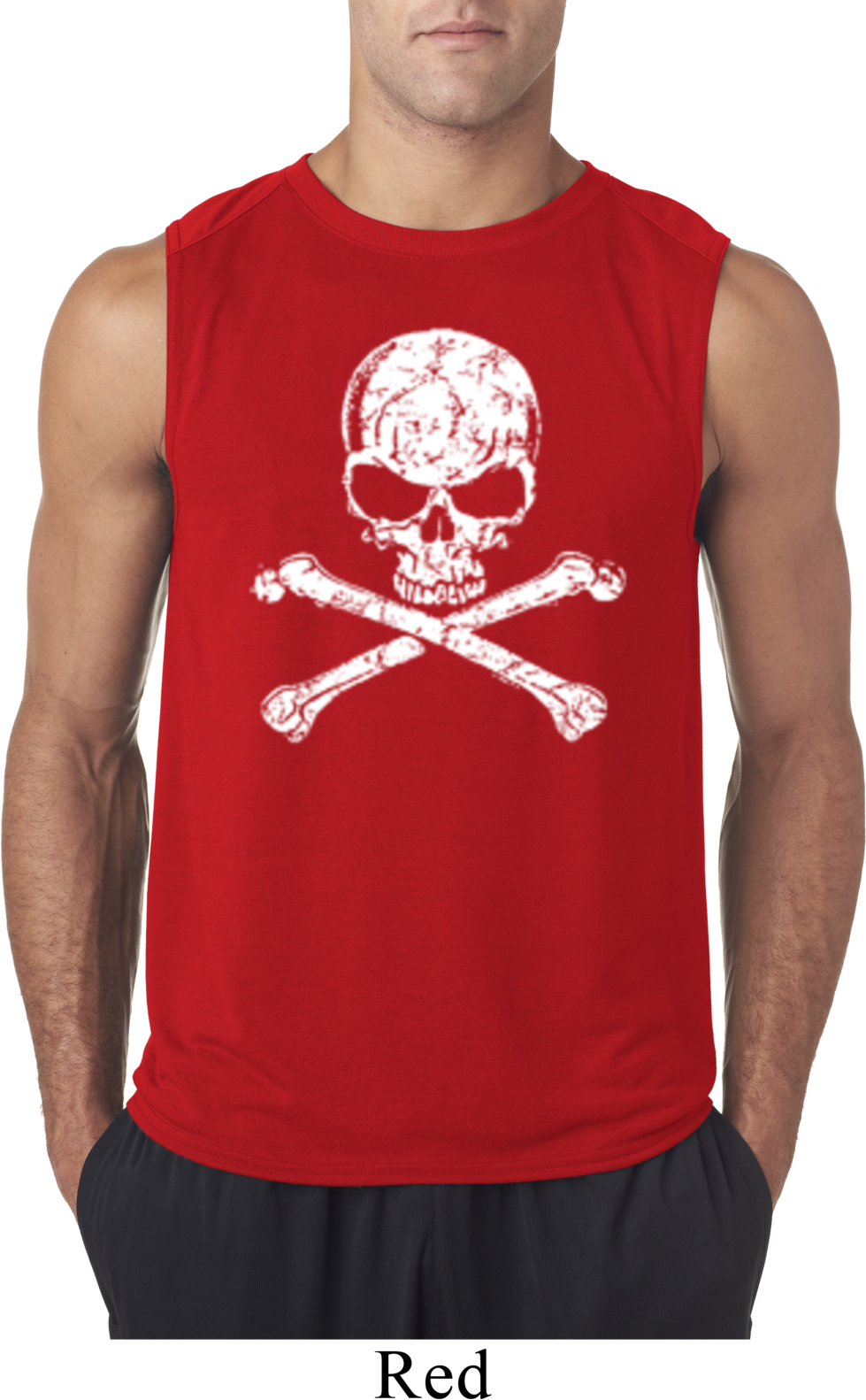 Mens white distressed skull sleeveless shirt white for How to make a distressed shirt