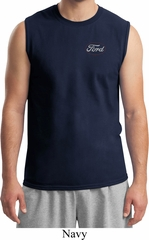 Mens White Ford Pocket Print Muscle Shirt