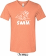 Mens White Penguin Power Swim Tri Blend V-neck