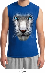 Mens White Tiger Shirt Big White Tiger Face Muscle Tee T-Shirt