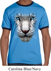 Mens White Tiger Shirt Big White Tiger Face Ringer Tee T-Shirt