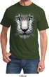 Mens White Tiger Shirt Big White Tiger Face Tee T-Shirt