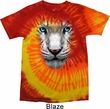 Mens White Tiger Shirt Big White Tiger Face Tie Dye T-shirt
