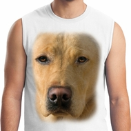 Mens Yellow Lab Shirt Big Yellow Lab Face White Muscle Tee T-Shirt