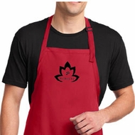 Mens Yoga Apron Black Namaste Lotus Full Length Apron with Pockets