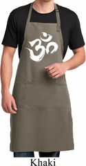 Mens Yoga Apron Brushstroke Aum Full Length Apron with Pockets