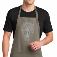 Mens Yoga Apron Grey Bodhi Tree Full Length Apron with Pockets