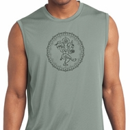 Mens Yoga Circle Ganesha Black Print Dry Wicking Sleeveless Shirt
