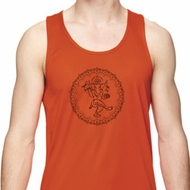 Mens Yoga Circle Ganesha Black Print Moisture Wicking Tank Top