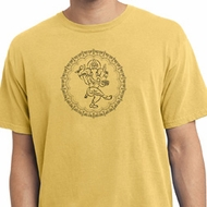 Mens Yoga Circle Ganesha Black Print Pigment Dyed Shirt