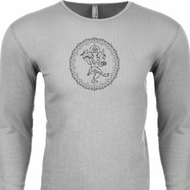 Mens Yoga Circle Ganesha Black Print Thermal Shirt