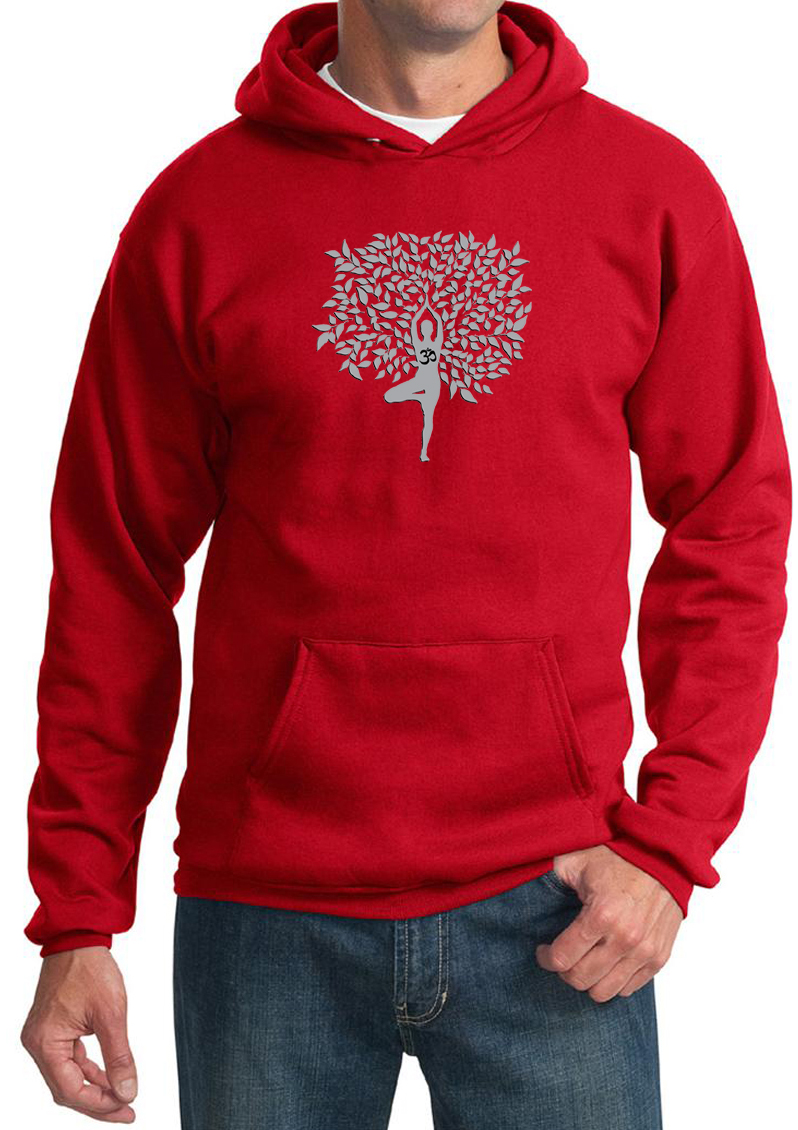 Mens Yoga Hoodie Grey Tree Pose Hoody Grey Tree Pose