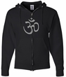 Mens Yoga Hoodie Sweatshirt - Aum Symbol Full Zip Hooded Sweat Shirt