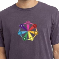 Mens Yoga Shirt 7 Chakra Circle Pigment Dyed Tee T-Shirt