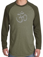 Mens Yoga Shirt - Aum Symbol Adult Long Sleeve Raglan Shirt