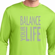 Mens Yoga Shirt Balance Your Life Dry Wicking Long Sleeve T-Shirt