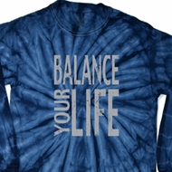 Mens Yoga Shirt Balance Your Life Long Sleeve Tie Dye Tee T-shirt