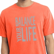 Mens Yoga Shirt Balance Your Life Pigment Dyed Tee T-Shirt
