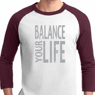 Mens Yoga Shirt Balance Your Life Raglan Tee T-Shirt