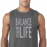 Mens Yoga Shirt Balance Your Life Sleeveless Tee T-Shirt