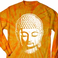 Mens Yoga Shirt Big Buddha Head Long Sleeve Tie Dye Tee T-shirt