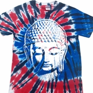 Mens Yoga Shirt Big Buddha Head Patriotic Tie Dye Tee T-shirt