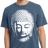 Mens Yoga Shirt Big Buddha Head Pigment Dyed Tee T-Shirt