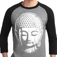 Mens Yoga Shirt Big Buddha Head Raglan Tee T-Shirt
