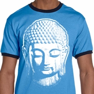 Mens Yoga Shirt Big Buddha Head Ringer Tee T-Shirt