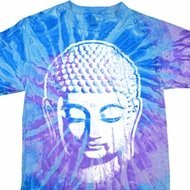 Mens Yoga Shirt Big Buddha Head Tie Dye Tee T-shirt